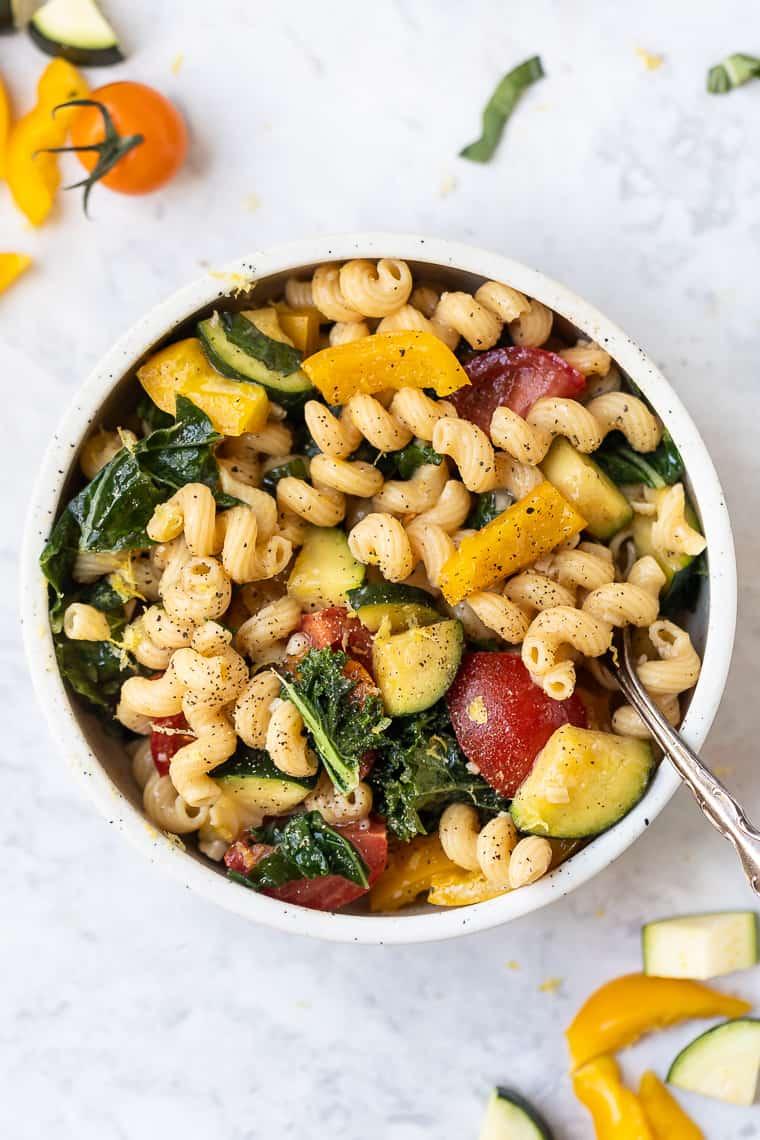 veggie pasta primavera made with chickpea pasta
