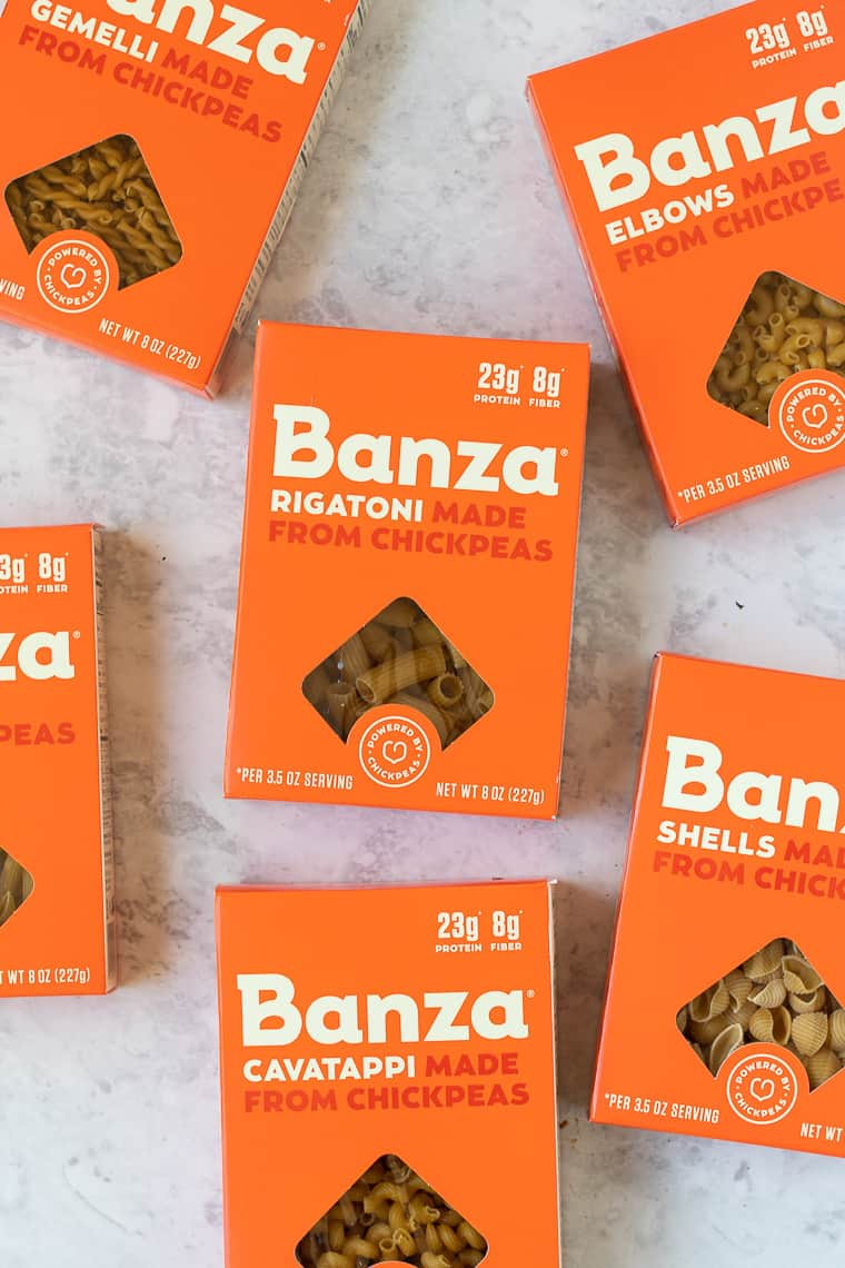 boxes of banza pasta made from chickpeas