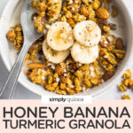 bowl of granola with banana slices