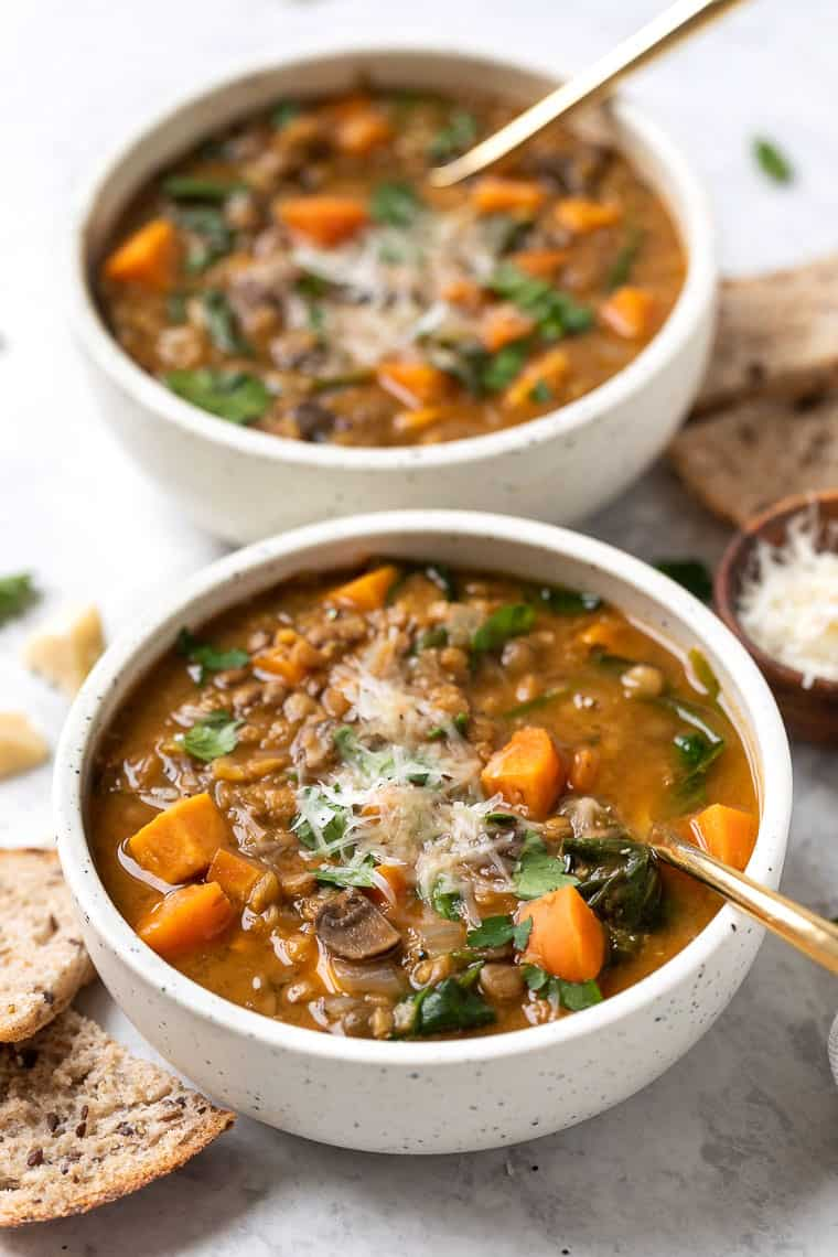 easy green and red lentil soup recipe with sweet potatoes