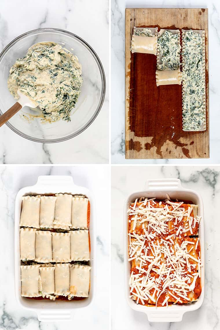 collage of steps to make tofu ricotta, rolled up in noodles and baked in a casserole dish