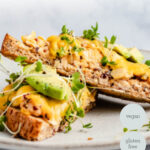 side view of vegan tuna melt with chickpeas and avocado