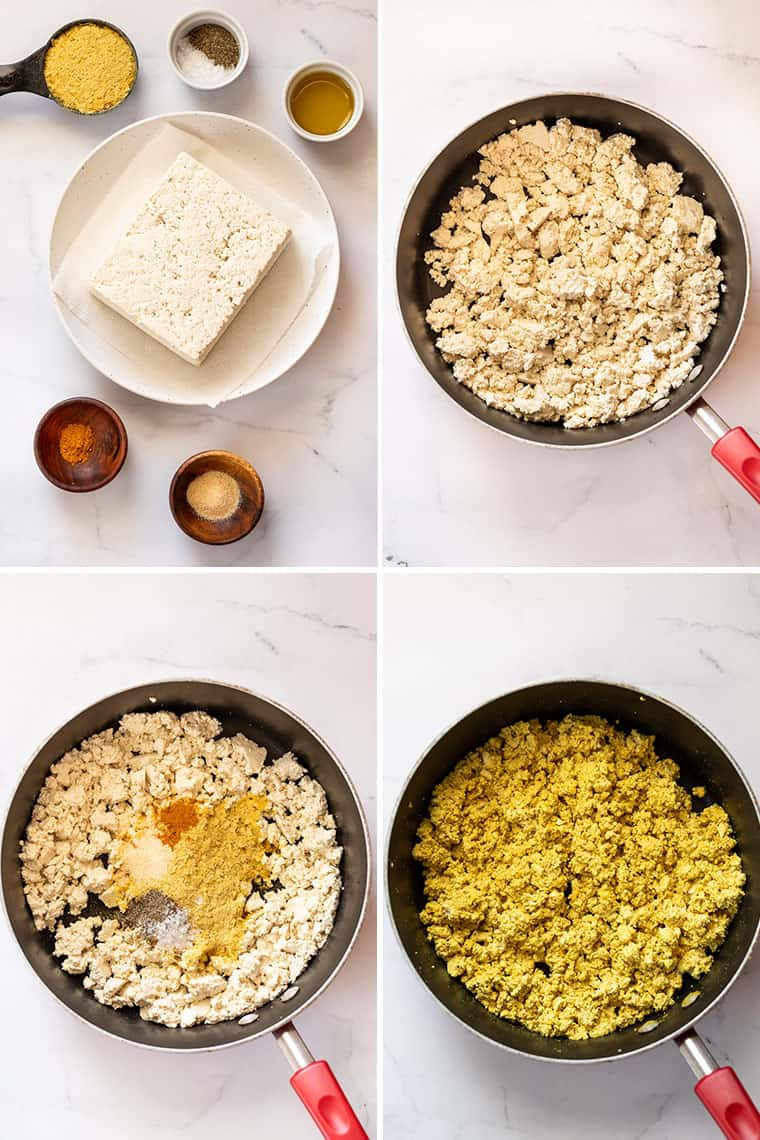 collage of four steps to make basic tofu scramble in a frying pan with yellow spices