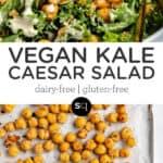 vegan kale caesar salad collage