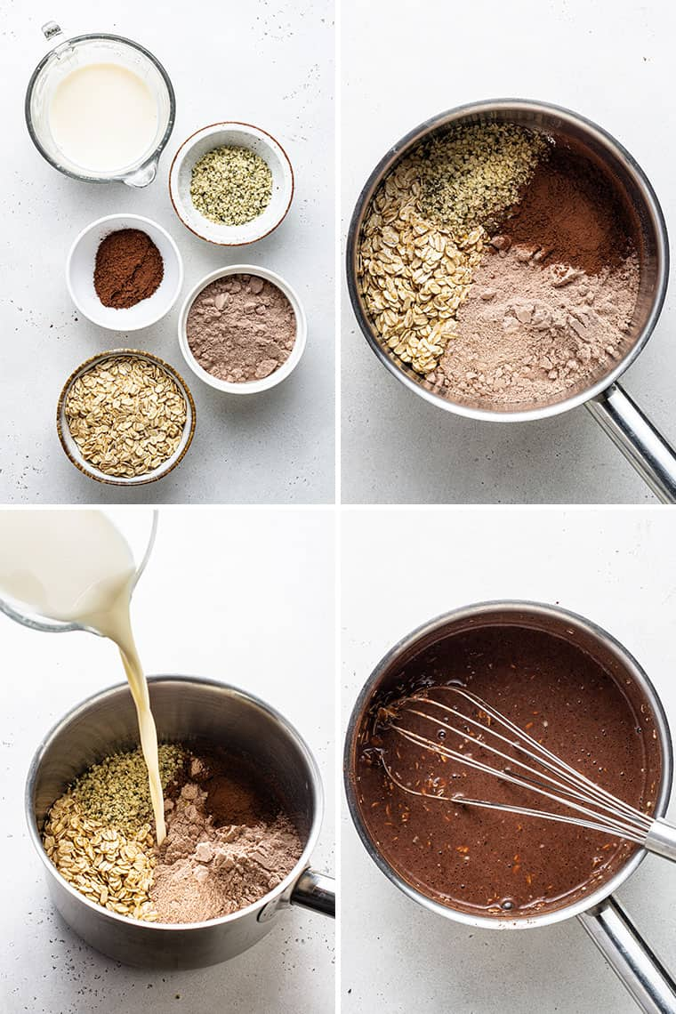 overhead of a collage of the steps to make protein oatmeal with chocolate