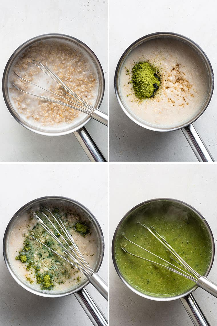 overhead of four pots making green tea oatmeal with coconut milk
