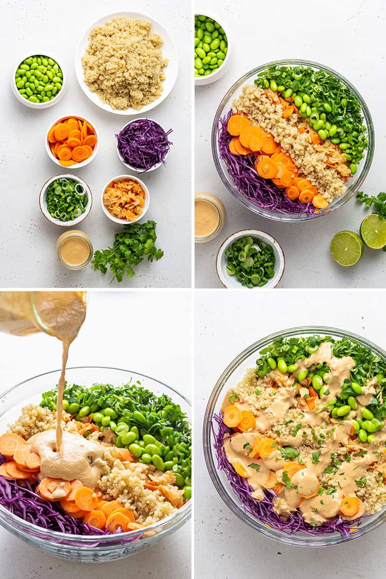 overhead of a collage of steps to make colorful asian quinoa salad with raw vegetables