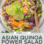 overhead glass bowl asian quinoa salad