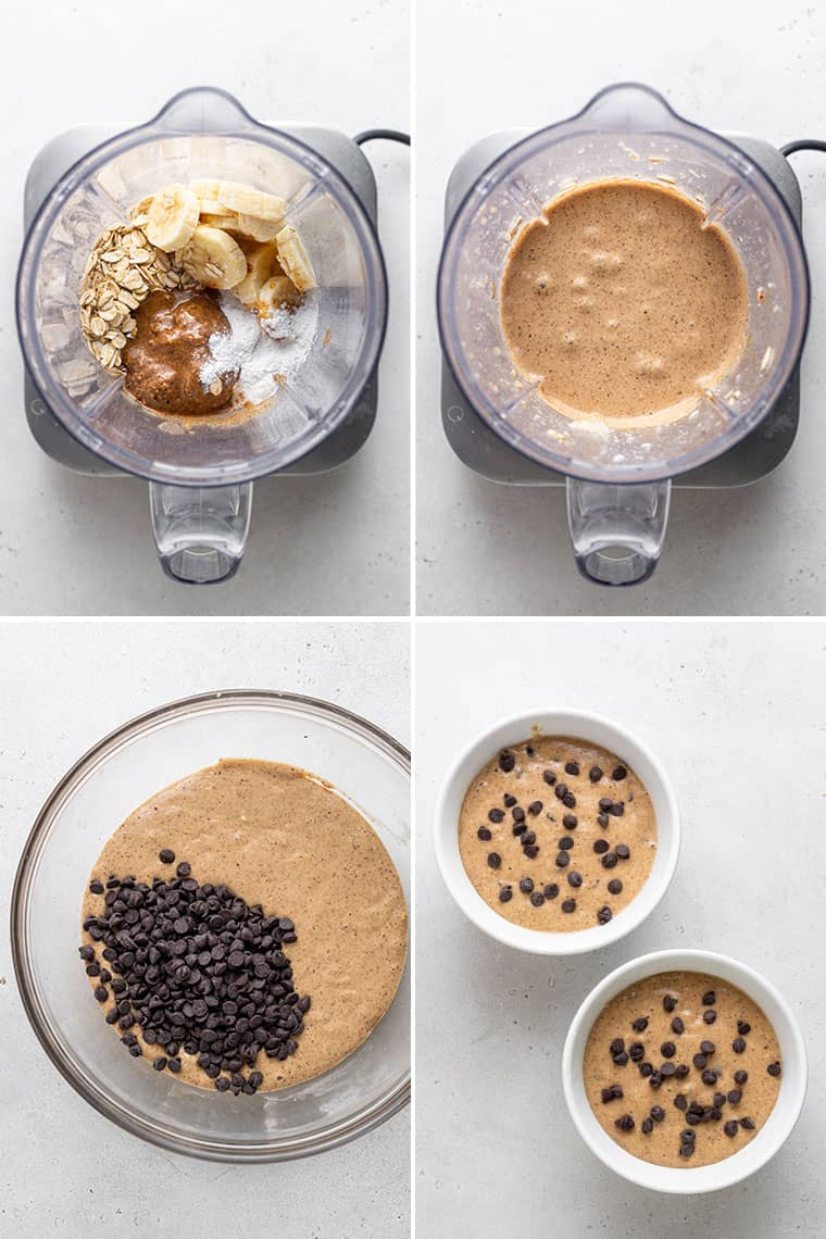 overhead of four images collaged with the steps to make vegan baked oatmeal with blended oats
