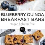 blueberry quinoa breakfast bars collage