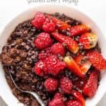 overhead white bowl chocolate oatmeal