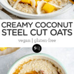 creamy coconut oats collage text overlay