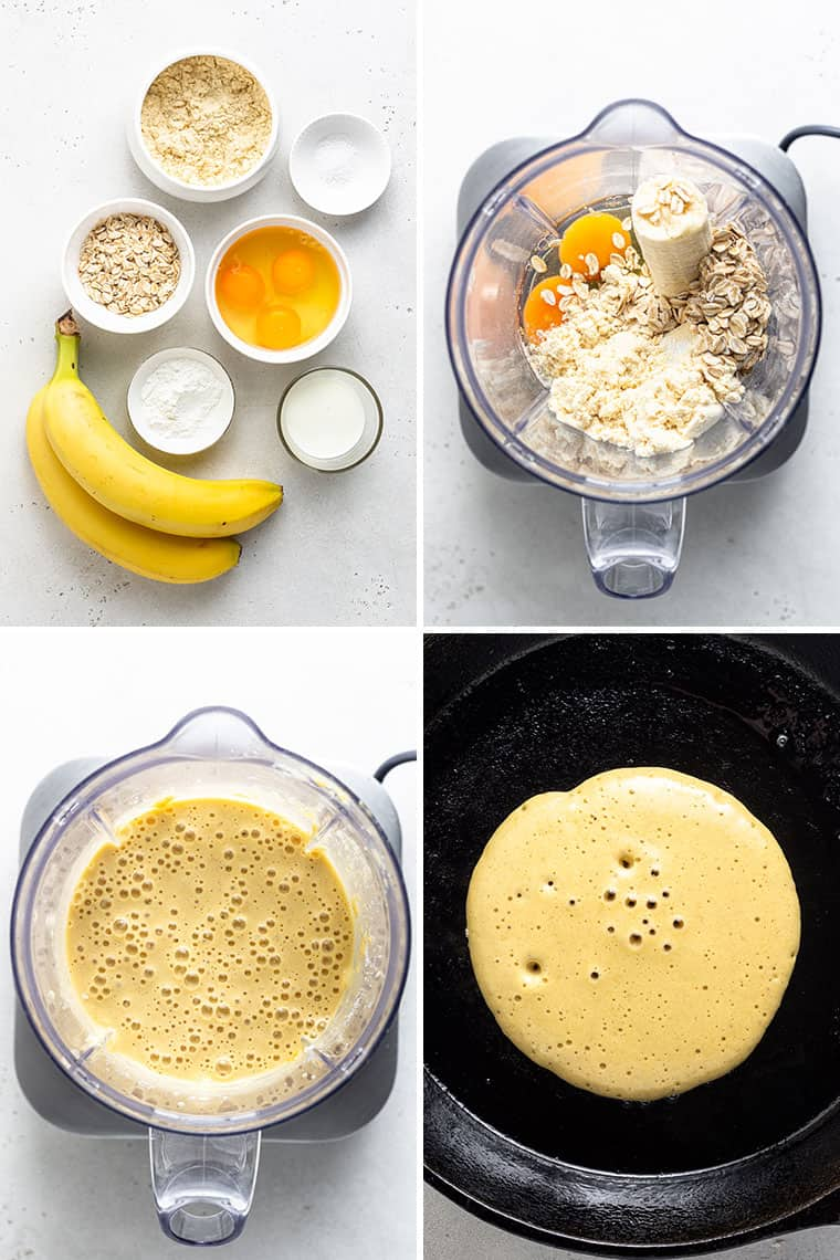 four steps to make the batter for banana protein pancakes including the ingredients and cooking pancakes on a griddle
