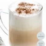 side view of a single glass mug of london fog latte
