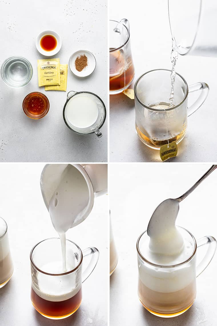 collage of four images to make london fog lattes with earl grey tea