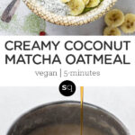 matcha green oatmeal collage text overlay