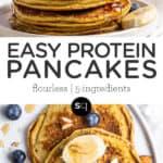 easy protein pancake collage text