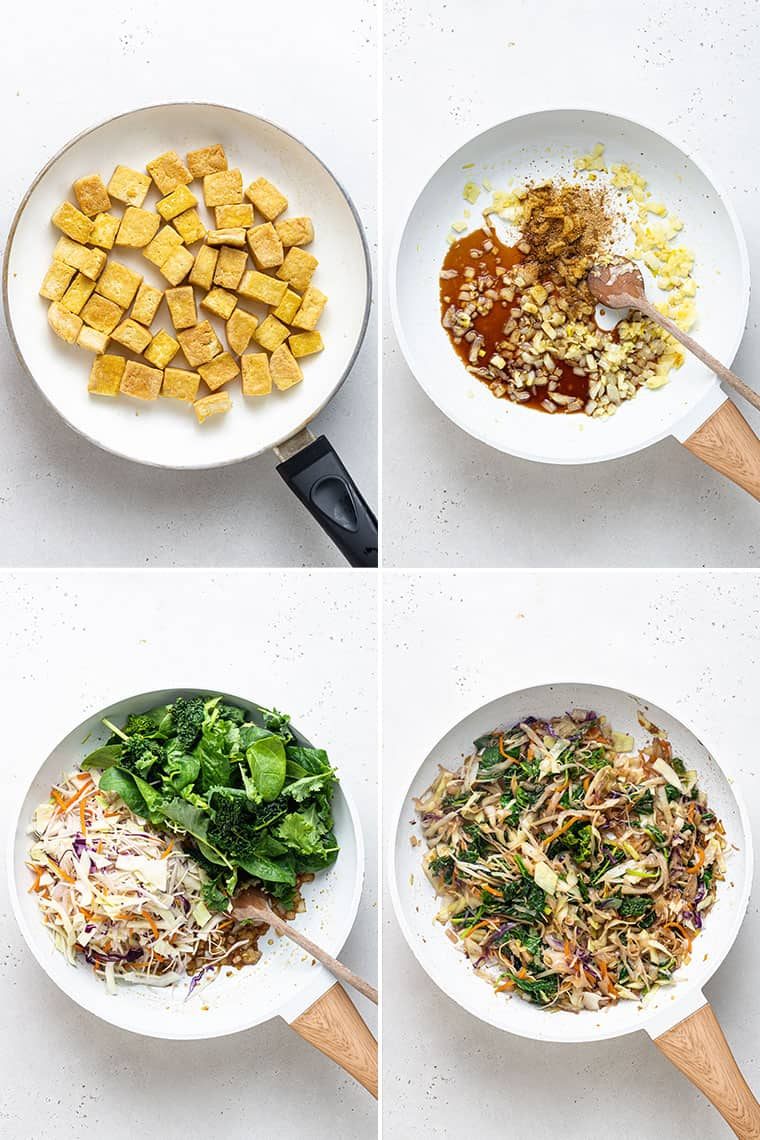 overhead of four images cooking tofu and egg roll stir fry