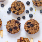 how to make baked oatmeal cups text overlay pin