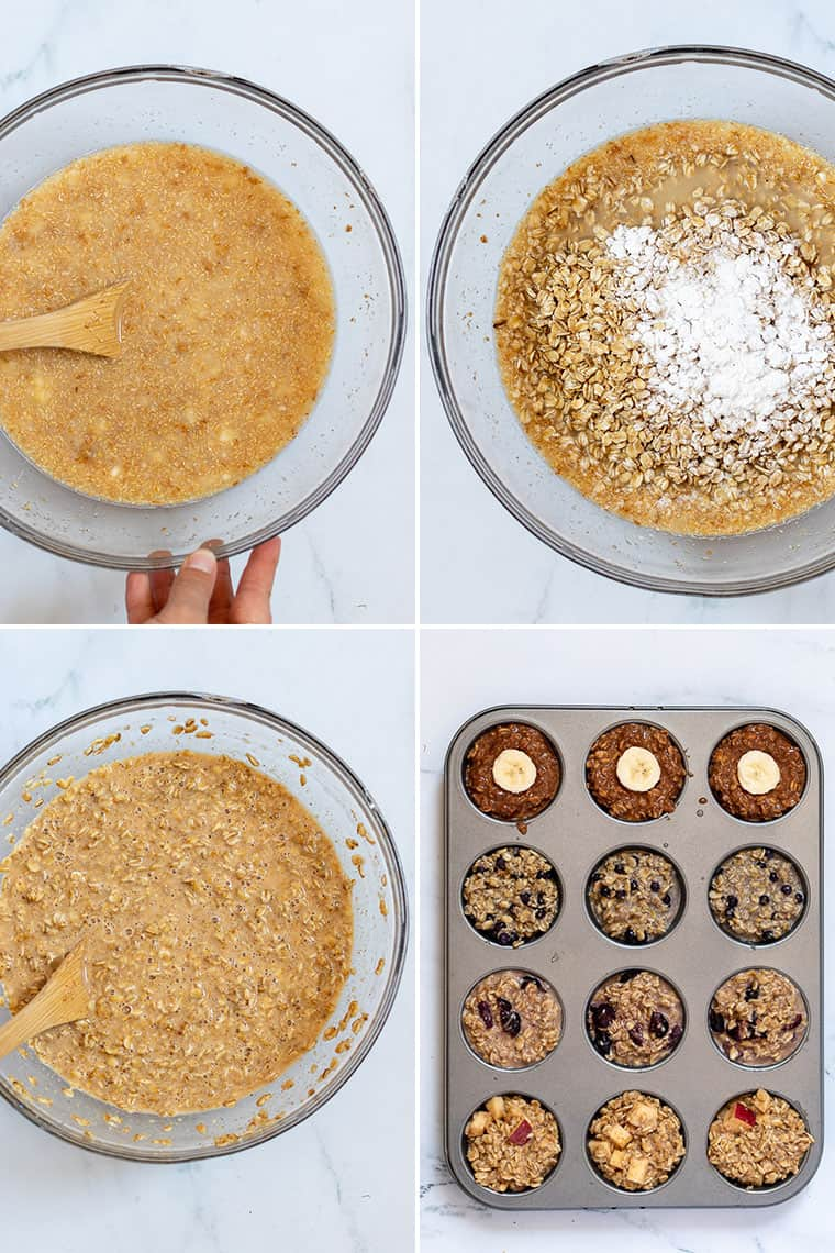 collage of overhead images of how to make baked oatmeal cups