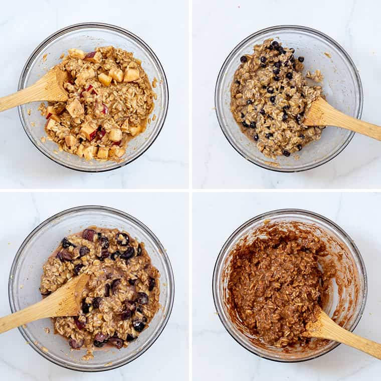 collage of overhead 4 flavors for baked oatmeal cups