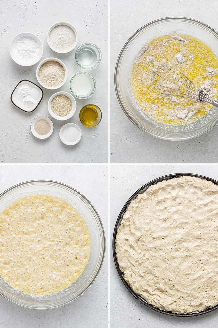 collage of the steps to make gluten-free pizza crust