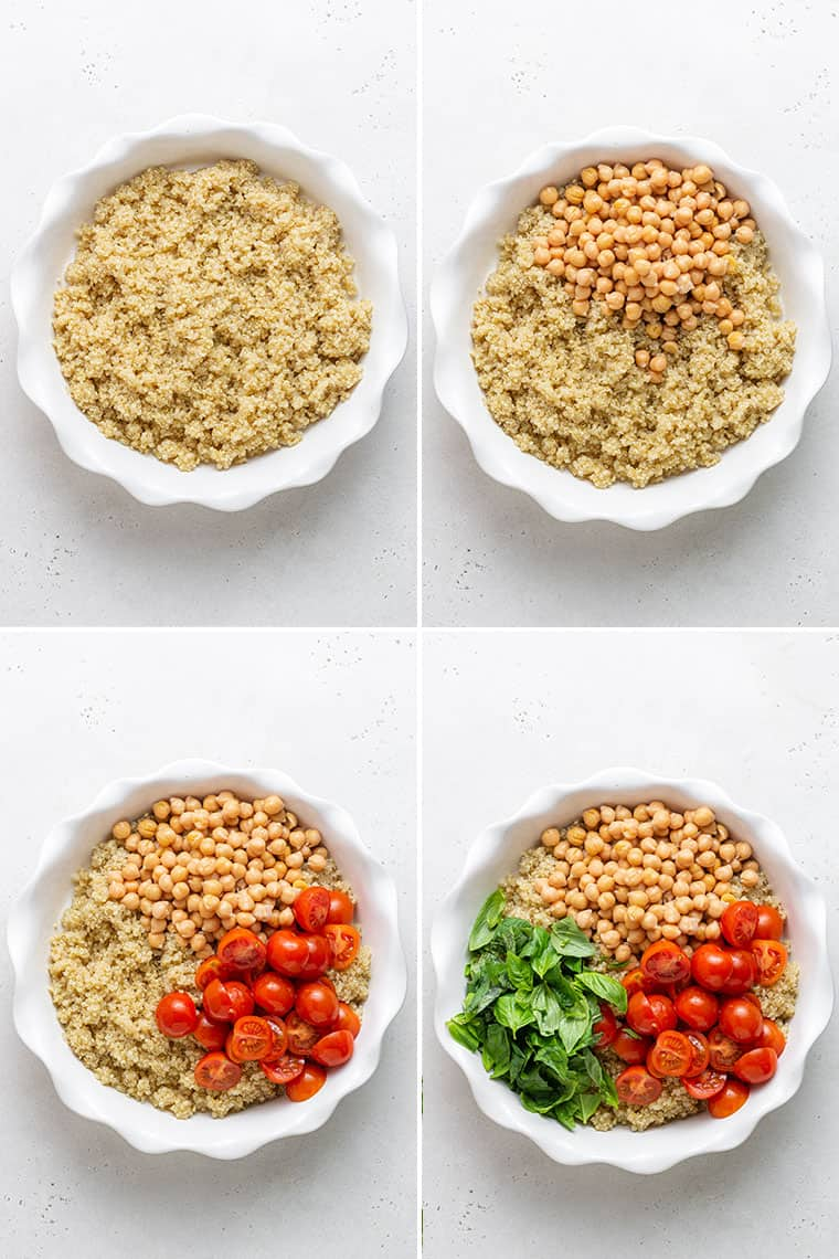 overhead collage of steps to make quiona salad with toamtoes, basil and balsamic vinagrette