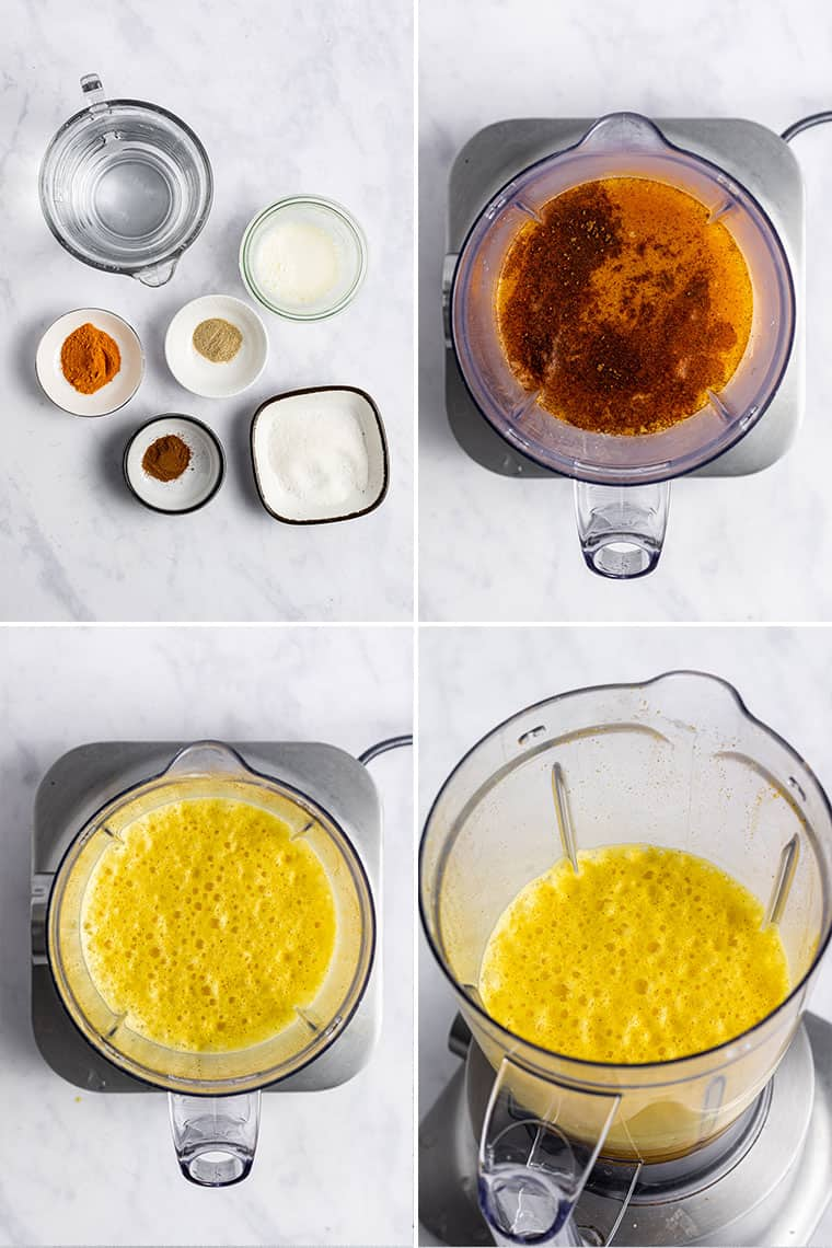 overhead collage of the steps to make golden milk latte in a blender