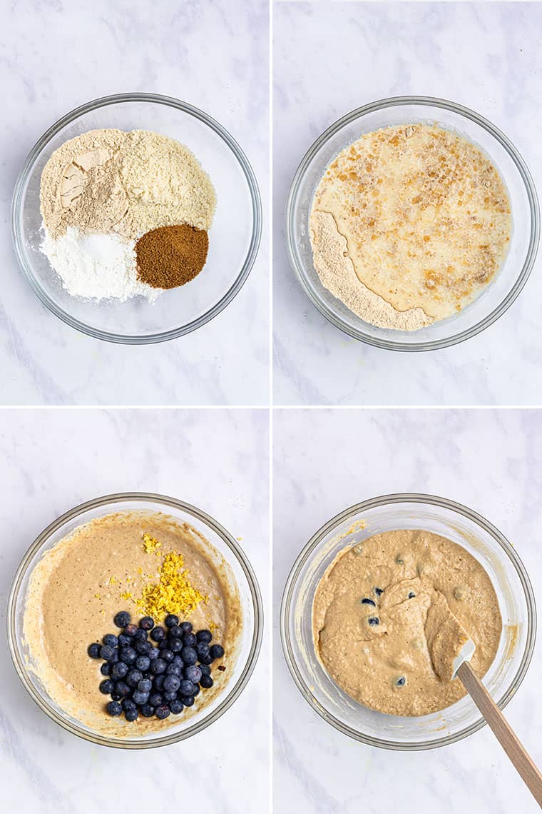 four photo collage of a glass bowl mixing batter for lemon blueberry pancakes