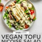 Vegan Nicoise Salad with Tofu text overlay