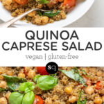 quinoa caprese salad text overlay pin