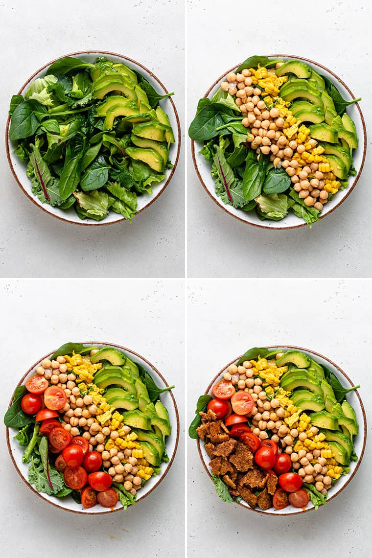 overhead collage images of how to assemble vegan cobb salad with chickpeas, vegetables, corn and tempeh bacon on lettuce