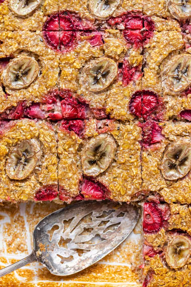 overhead of a baking dish with slices of banana baked oatmeal