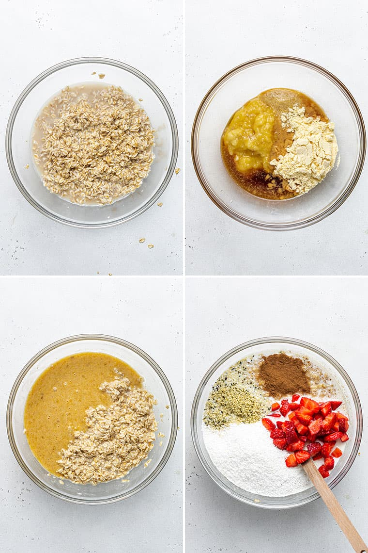 overhead collage of four steps to make strawberry banana oats
