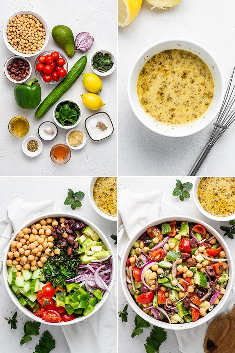 collage of four steps to make greek chickpea salad