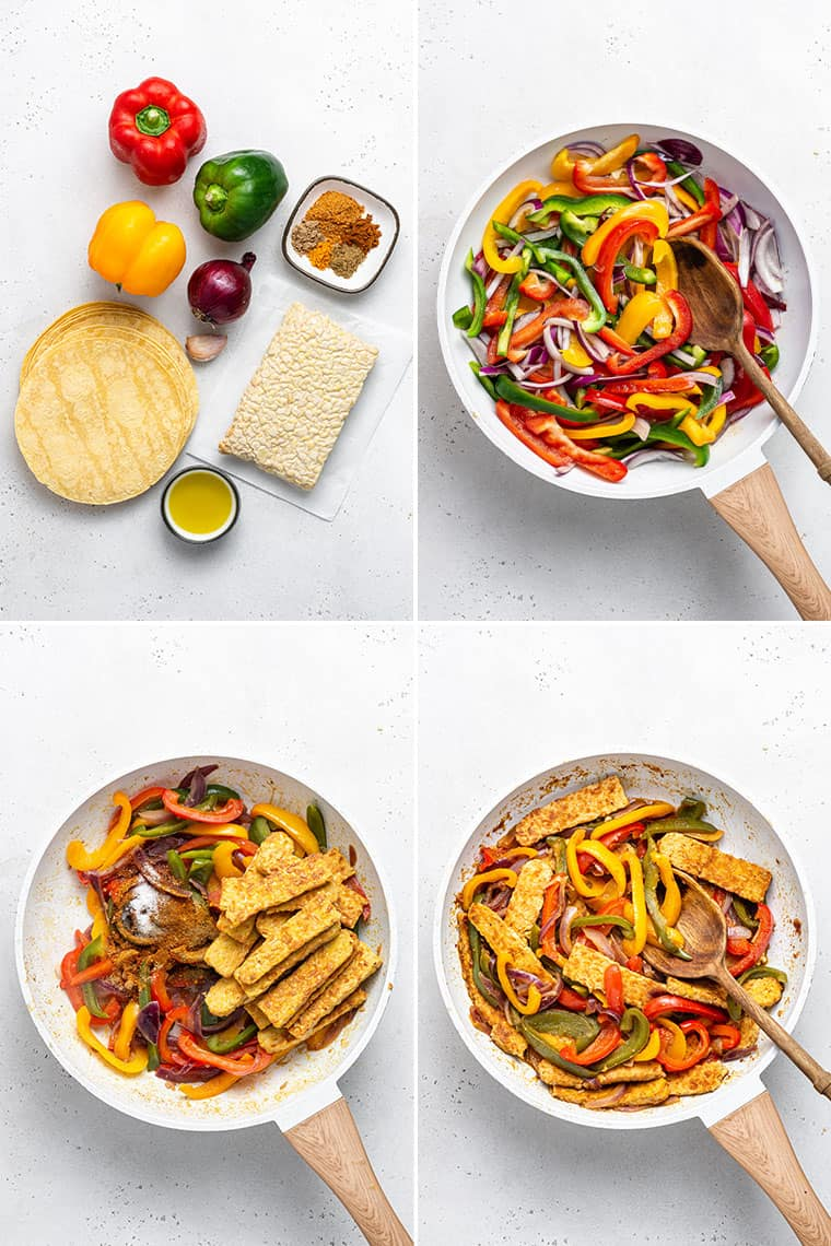 collage of the steps to make vegan fajitas with tempeh and colorful bell peppers