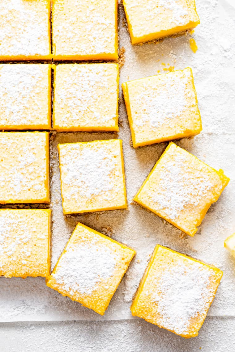 slices of lemon bars with powdered sugar on top