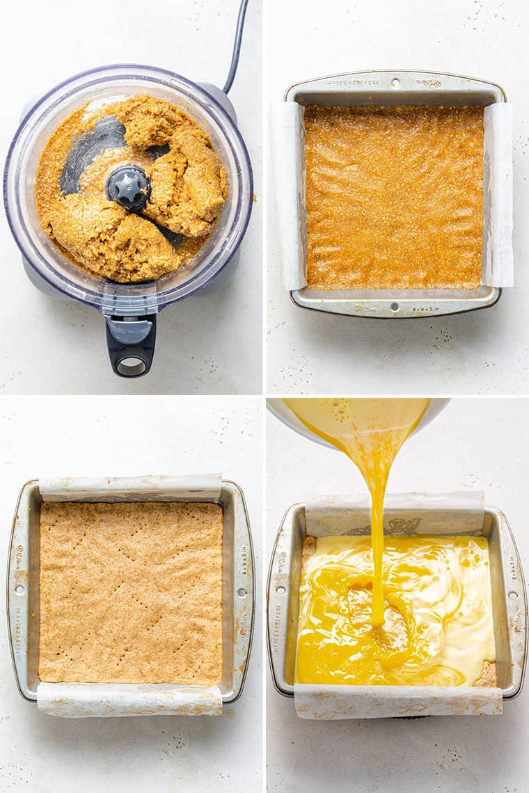 collage of the steps to make healthy gluten-free lemon bars