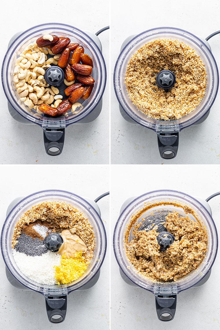 collage of four images of a food processor with the ingredients and steps to make lemon energy bites