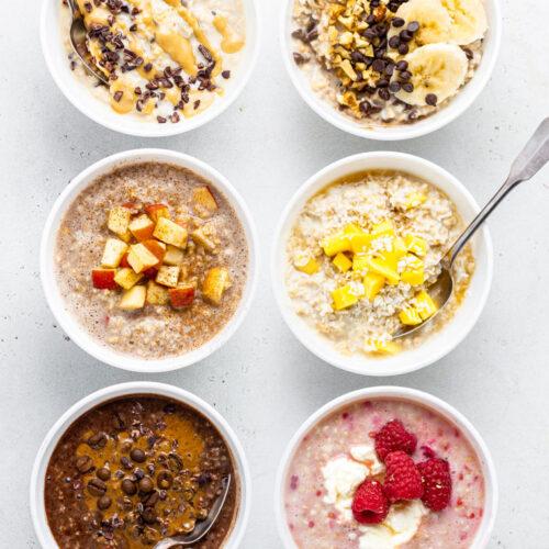 six bowls of overnight steel cut oats