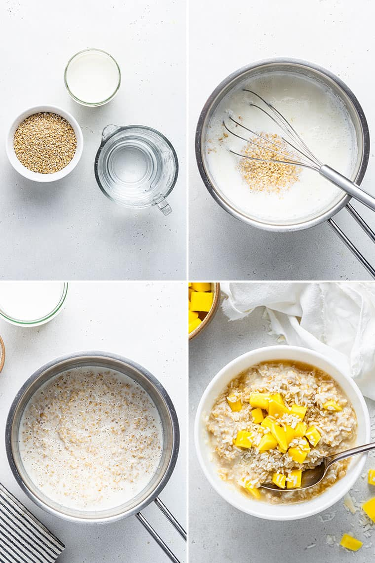 collage of the steps to make overnight steel cut oats in a mixing bowl