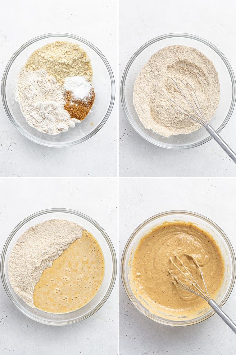 collage of the steps to make pb&j muffins in a mixing bowl