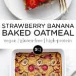 Strawberry Banana Baked Oatmeal text overlay