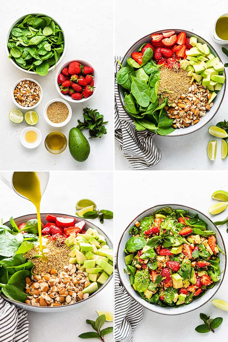 collage of the steps and ingredients to make strawberry salad with spinach