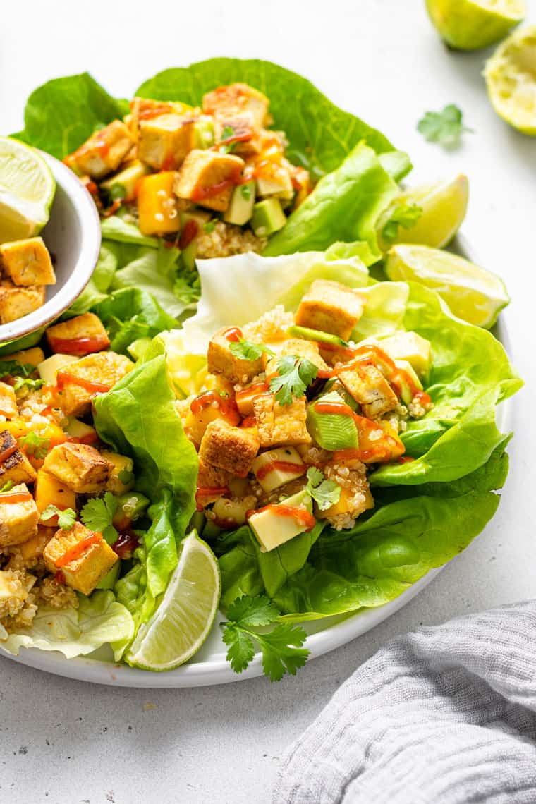 plate with three lettuce leaves with quinoa and tofu