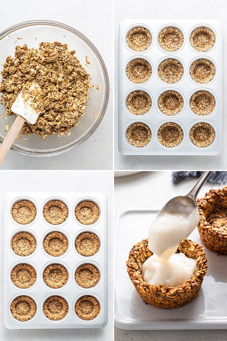 collage of the steps to make oatmeal cups in a muffin tin