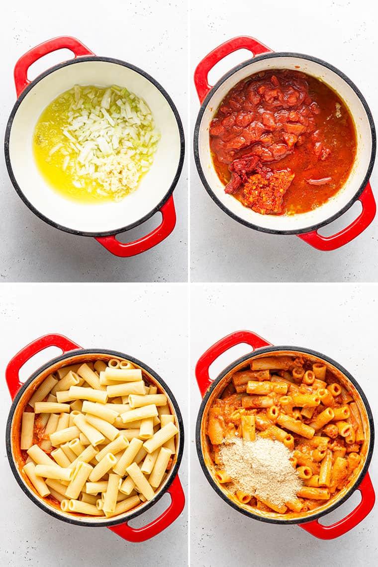 collage of the steps to make vegan vodka sauce recipe