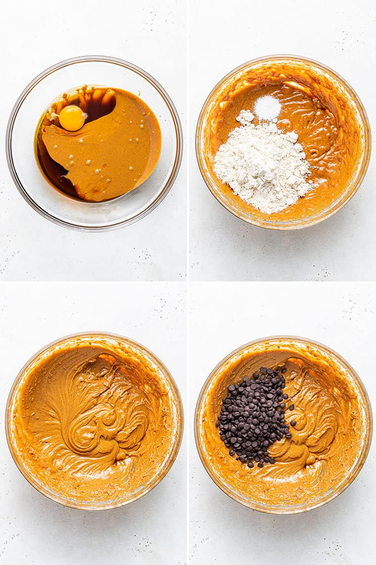 collage of the steps to make almond butter chocoalte chip cookies in a mixng bowl