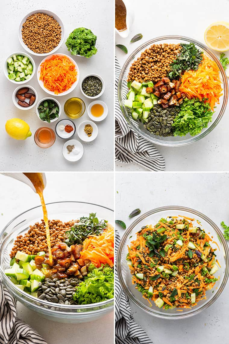collage of the steps to make curried lentil salad with carrots