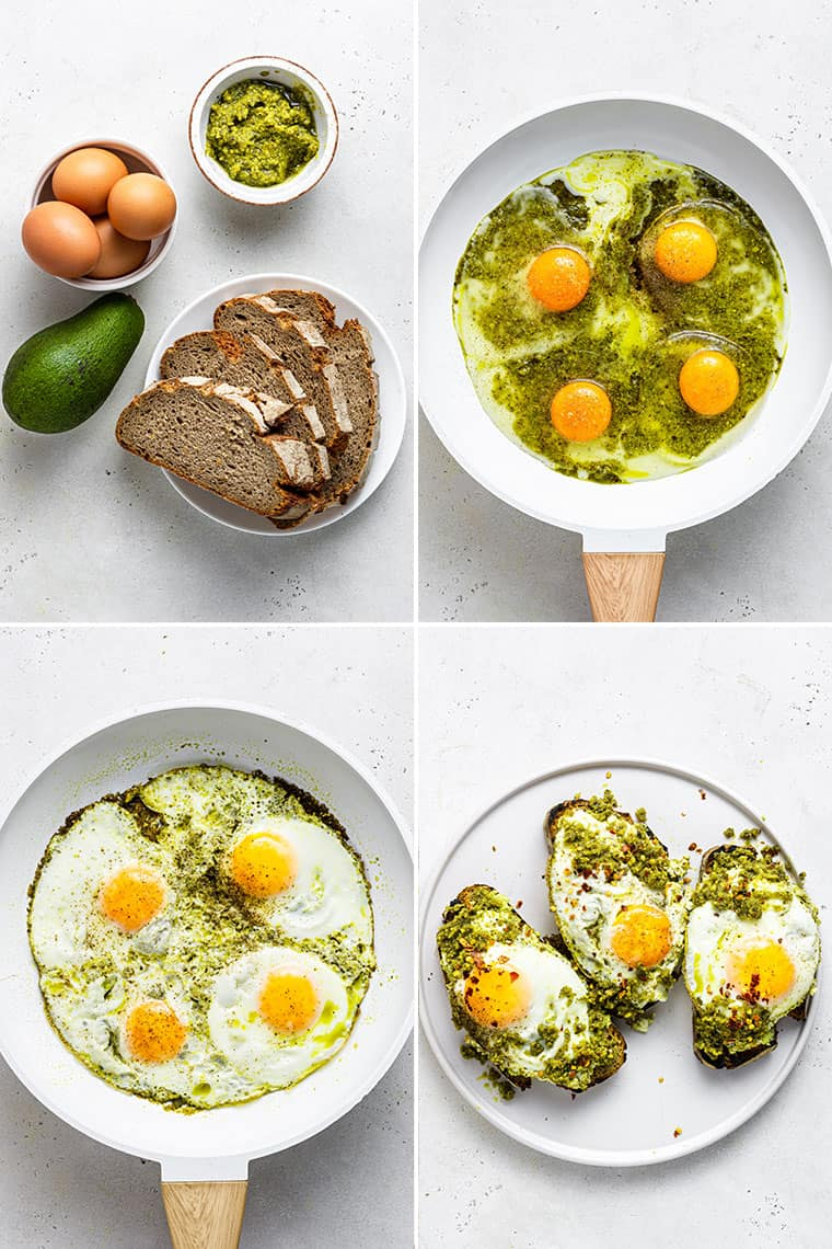 collage of the steps to make pesto eggs in a white skillet